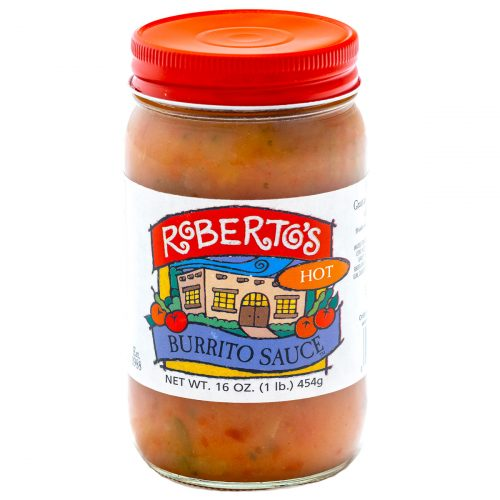 Roberto's organic Colorado homemade burrito sauce is perfect for wet burritos. This hot and spicy sauce is meant to pour on Mexican food and recipes. 16 ounce jar.