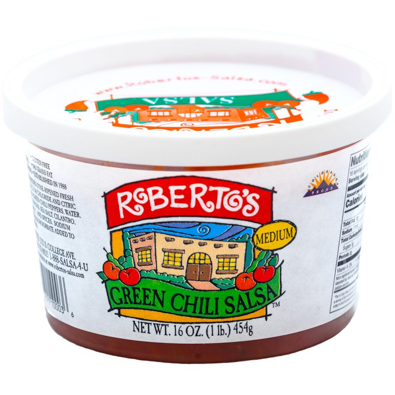 This Roberto's organic mild green chili salsa is red in color but homemade in colorado within the high rocky mountains by the Roberto's family. This salsa is medium and not too spicy or hot. 8 ounce jar.