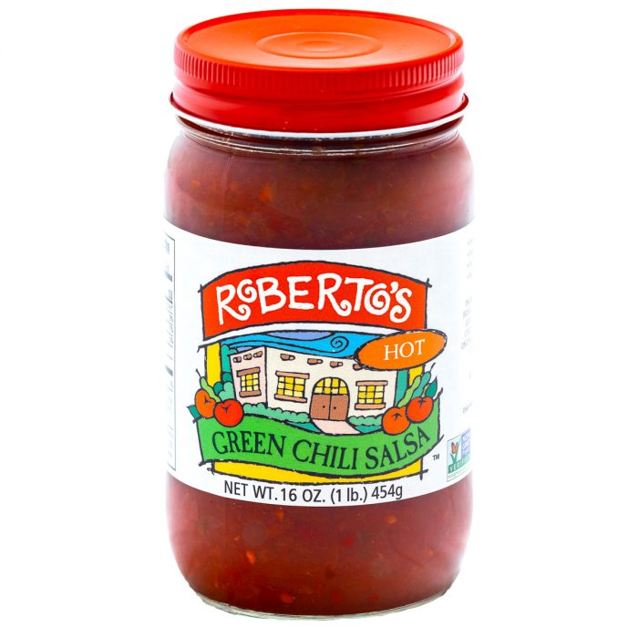 This Roberto's organic mild green chili salsa is red in color but homemade in colorado within the high rocky mountains by the Roberto's family. This salsa is hot and spicy. 16 or 8 ounce jar.