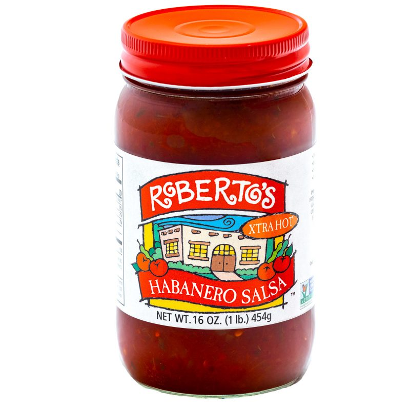 Roberto's organic hot habanero salsa is created in the high rocky mountains of colorado. This one is super extra hot and spicy. 16 ounce jar.
