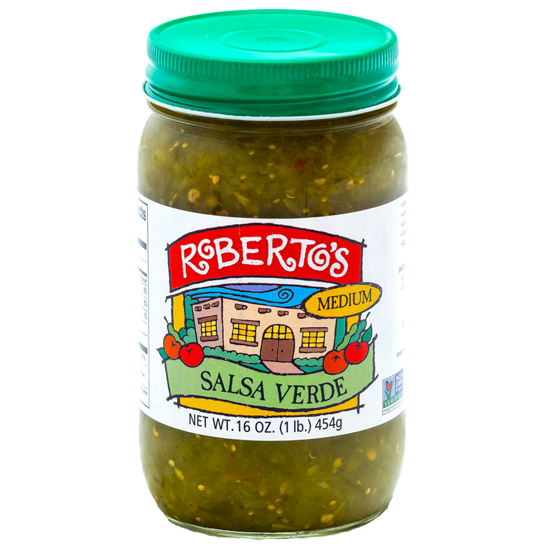 Roberto's medium salsa verde is organic and homemade in the rocky mountains of colorado. It is fresh, clean, and mouthwatering. 16 ounce jar.